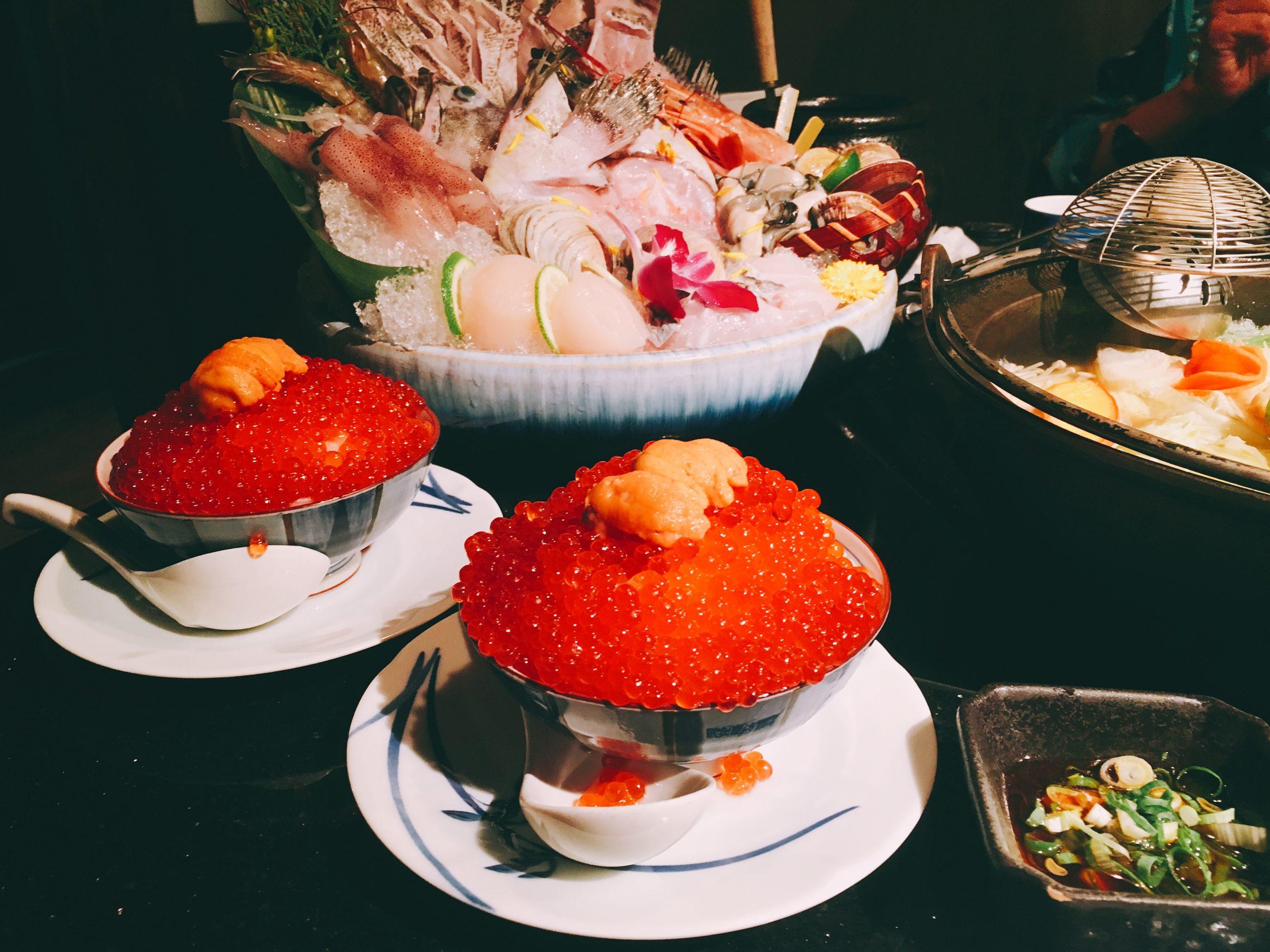 台北大安區|囍聚精緻鍋物 日式鍋物料理 鮭魚卵滿到炸出來的鮭魚卵海膽丼 精緻鍋物推薦